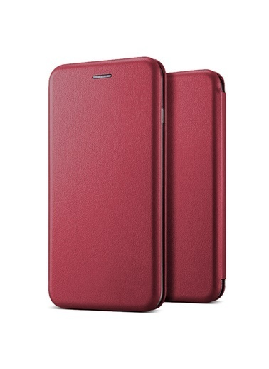 Microsonic Galaxy A71 Kılıf Ultra Slim Leather Design Flip Cover Bordo Bordo